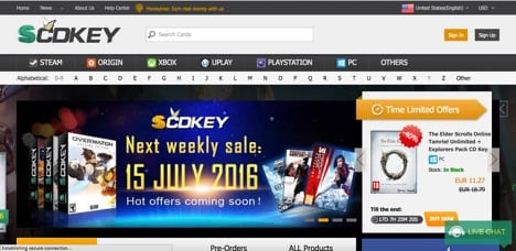 SCDKEY sites like g2a