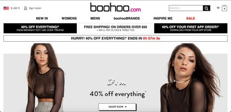 Sites like Boohoo