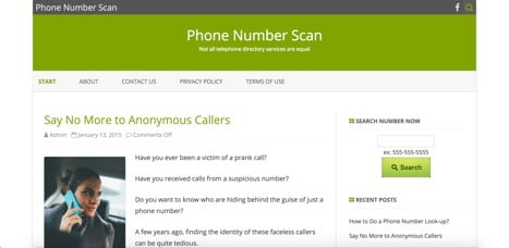 Phone Number Scan